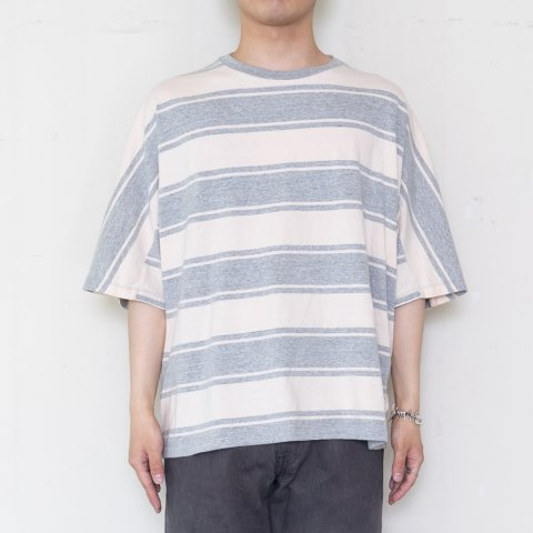 UNUSED * US1951 Cotton and Rayon Dolman Sleeve Border T-Shirt * Gray/Beige