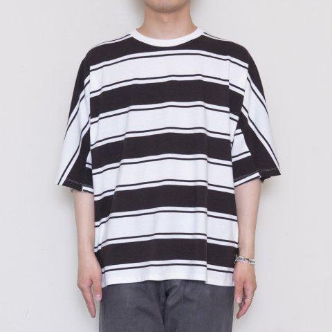 UNUSED * US1951 Cotton and Rayon Dolman Sleeve Border T-Shirt * Black/White