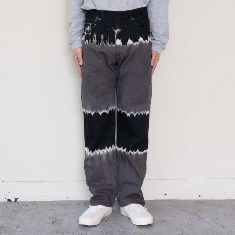 UNUSED * UW0959 Tie Dye Denim Pants * Black/Gray