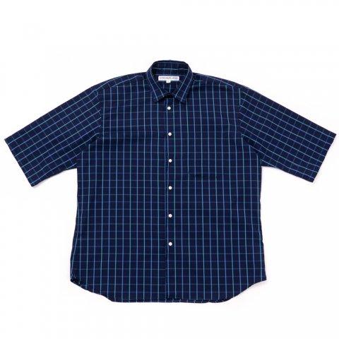 INDIVIDUALIZED SHIRTS * for public Half Sleeve Shirt  Big Check * Blue