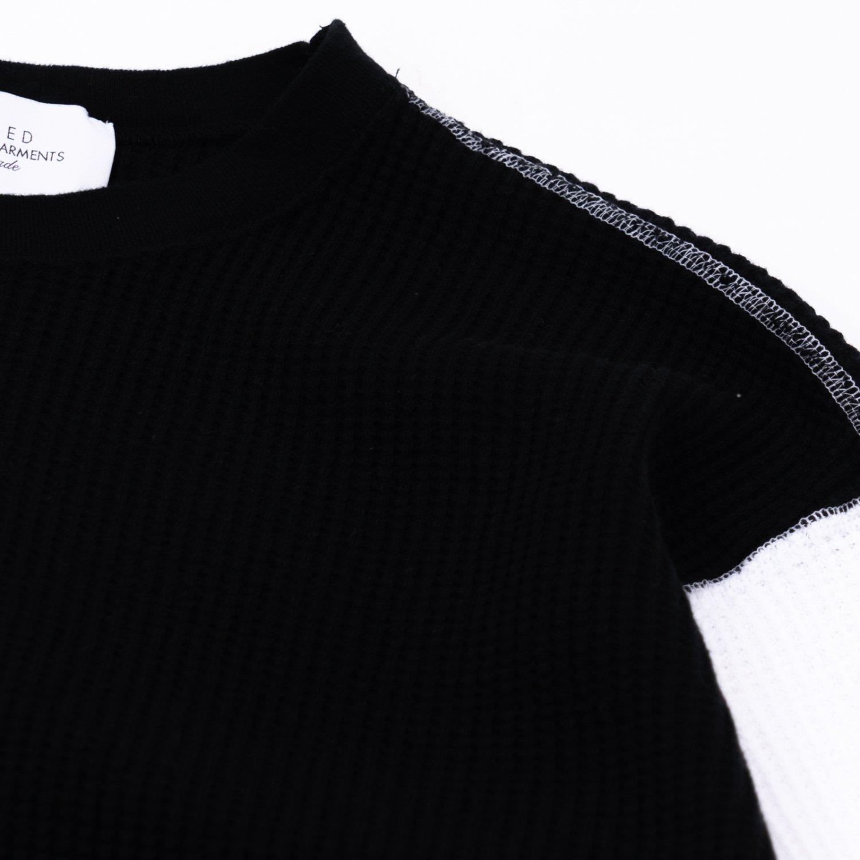 UNUSED * US2069 Three Quarter Sleeve Cotton Thermal * Black/White