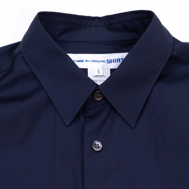 COMME des GARCONS SHIRT * Forever Wide Classic Plain Cotton Long Sleeve Shirt *  Navy