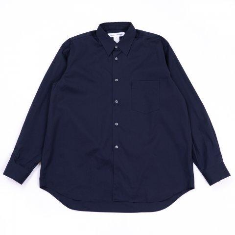 COMME des GARCONS SHIRT * Forever Wide Classic Wide Collar Plain Cotton Long Sleeve Shirt *  Navy