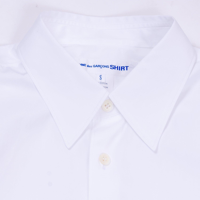 COMME des GARCONS SHIRT * Forever Wide Classic Wide Collar Plain Cotton Long Sleeve Shirt * White