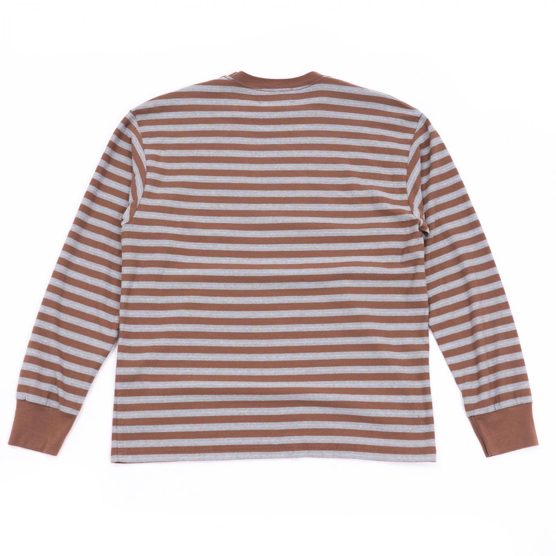 UNUSED * US2116 Long Sleeve Border T-Shirt * Brown/Sax