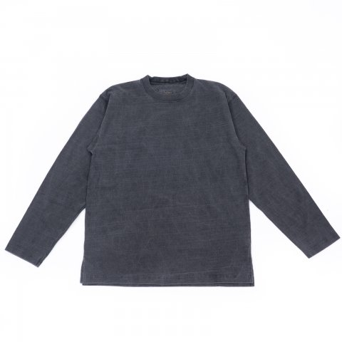 hobo * ARTISAN L/S CREW NECK TEE COTTON HEAVYWEIGHT JERSEY * Charcoal Dyed