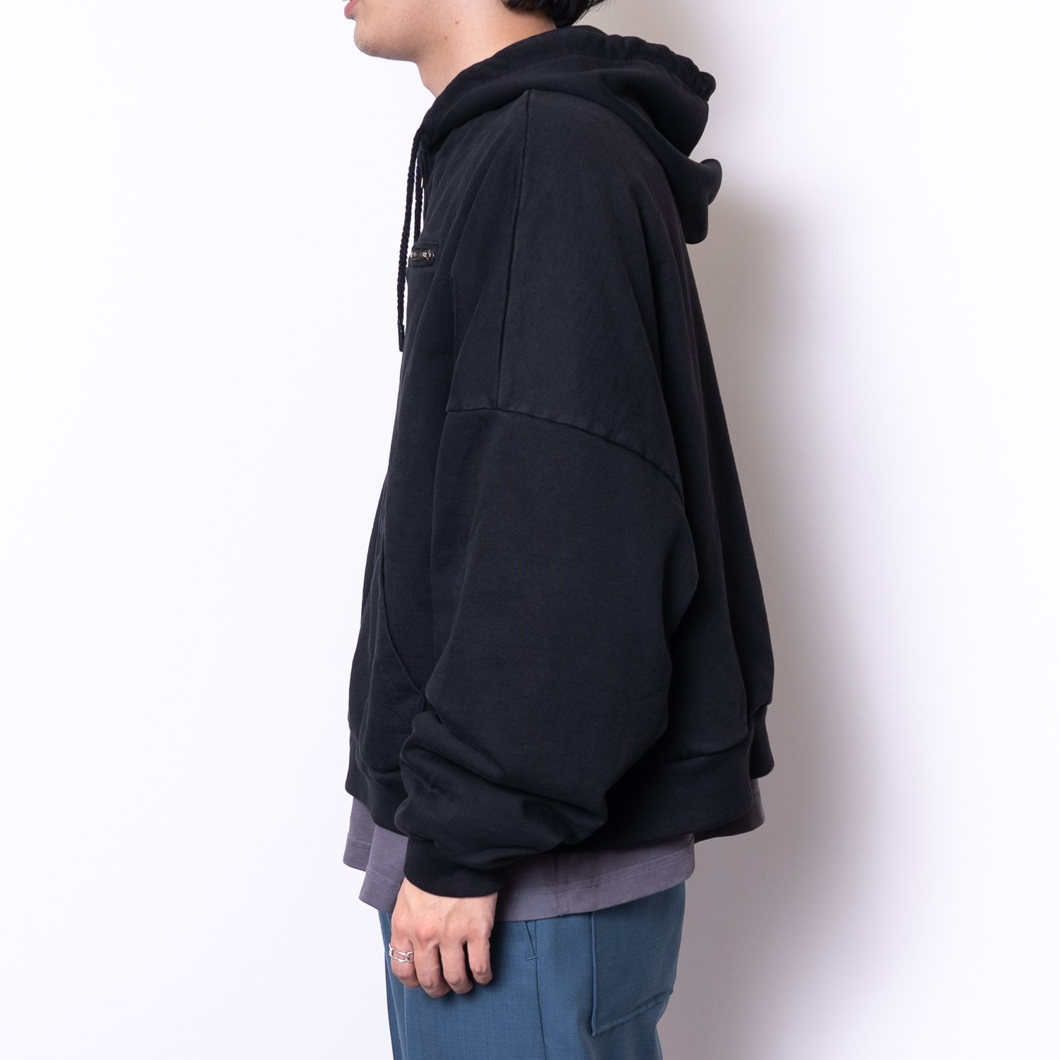 WILLY CHAVARRIA * WAFFLE LINED ZIP BOMBER HOODIE * Jet Black