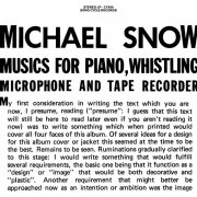 MICHAEL SNOW / Musics For Piano, Whistling, Microphone And Tape Recorder (2LP)