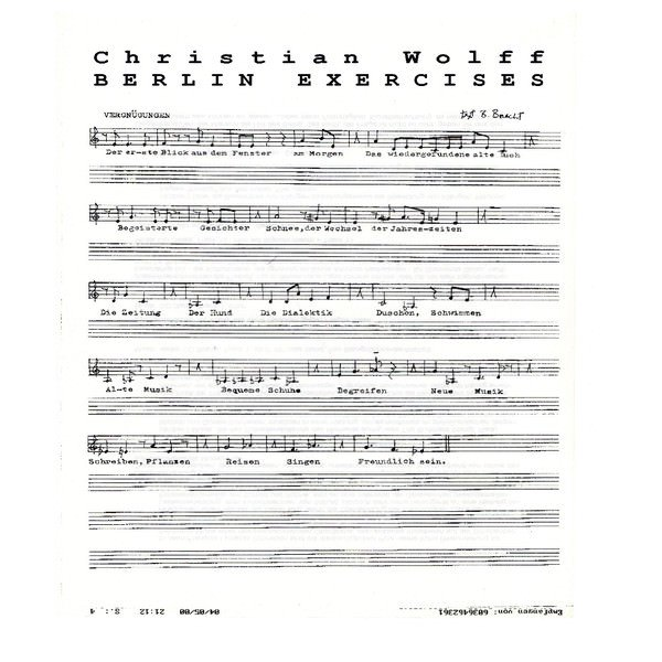 CHRISTIAN WOLFF / Berlin Exercises (LP)