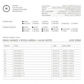 MIKA VAINIO + RYOJI IKEDA + ALVA NOTO / Live 2002 (CD/LP)