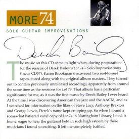 DEREK BAILEY / More 74 (CD)