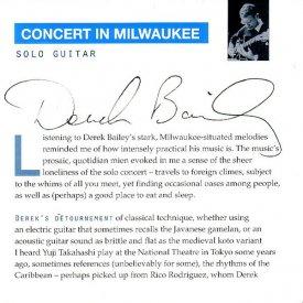 DEREK BAILEY / Concert In Milwaukee (CD)