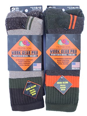 """【MADE IN USA】Fruit of the loom """"Pro Grade Wool Brend Boot Socks"""" Olive,Tan"""