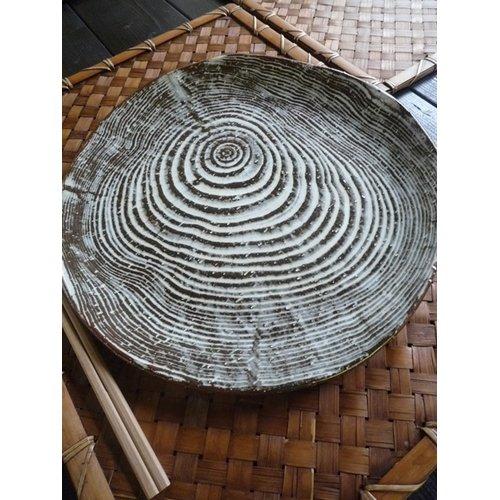 粉引き 年輪プレート