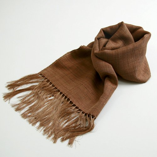 屋久杉染め 絹紬 手織りストール