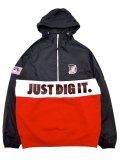 [MANIC DEE] JUST DIG IT. NYLON×SWEAT COMBINATION HALF ZIP HOODIE JACKET(BK)