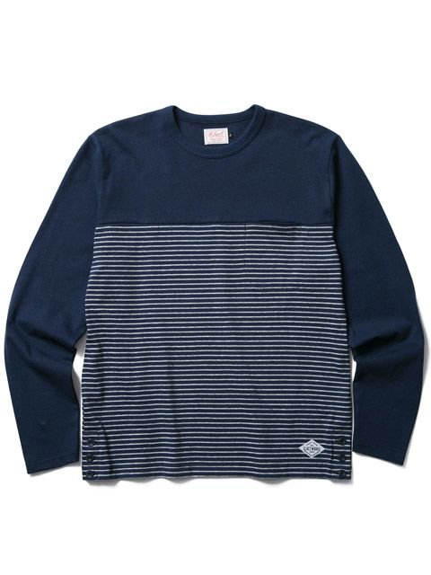 [CLUCT] L/S ORINGINAL SWITCH STRIPE POCKET CREW(NV)