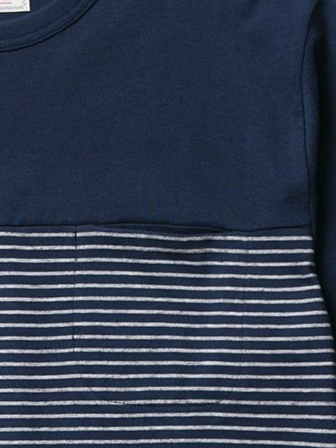 [CLUCT] L/S ORINGINAL SWITCH STRIPE POCKET CREW(NV)1