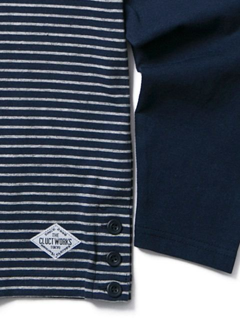 [CLUCT] L/S ORINGINAL SWITCH STRIPE POCKET CREW(NV)2
