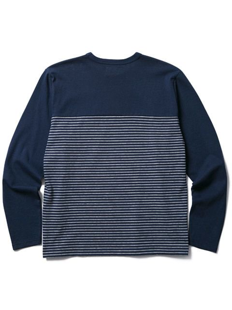 [CLUCT] L/S ORINGINAL SWITCH STRIPE POCKET CREW(NV)3
