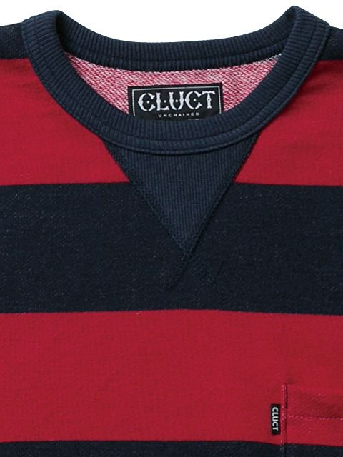 [CLUCT] BORDER STRIPE POCKET CREW1