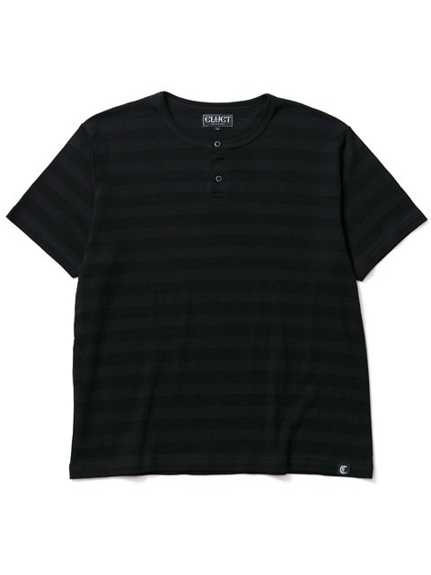 [CLUCT] TONAL STRIPE HENRY TEE