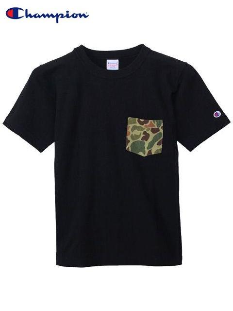 [Champion] リバースウィーブポケット付きTシャツ(BK)