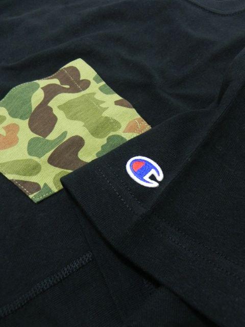 [Champion] リバースウィーブポケット付きTシャツ(BK)2