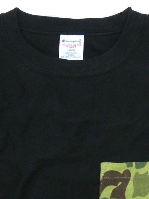 [Champion] リバースウィーブポケット付きTシャツ(BK)3