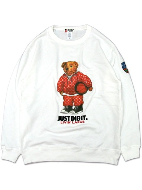 [MANIC DEE] LIVIN' LARGE RED B.B. BEAR CREWNECK SWEAT(WH)