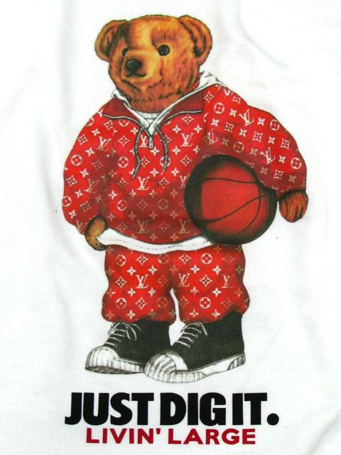 [MANIC DEE] LIVIN' LARGE RED B.B. BEAR CREWNECK SWEAT(WH)1