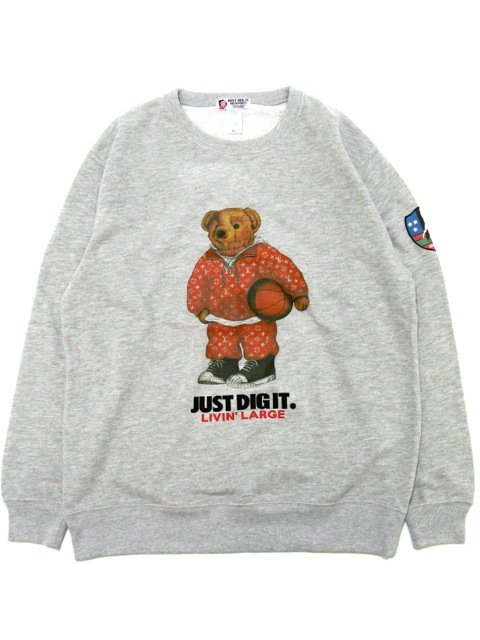 [MANIC DEE] LIVIN' LARGE RED B.B. BEAR CREWNECK SWEAT(GR)