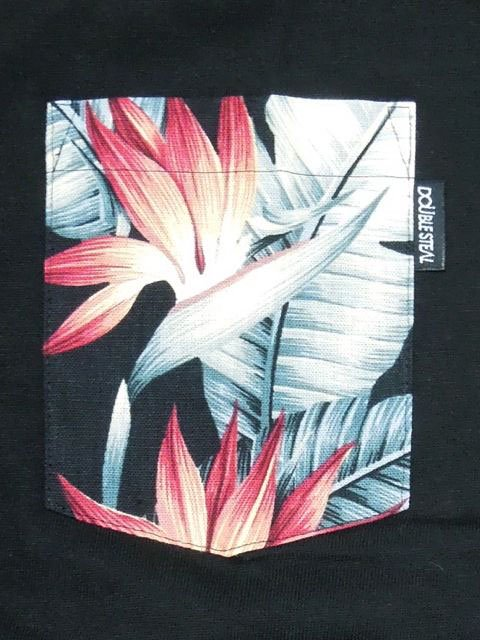 [DOUBLE STEAL BLACK] BOTANICAL POCKET TEE1