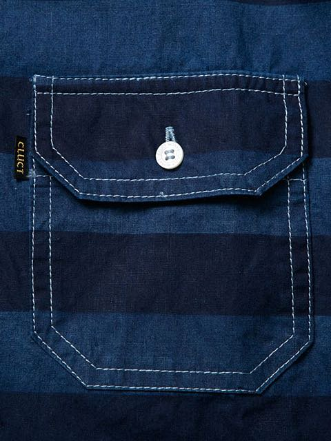 [CLUCT] DENIM BORDER SHIRTS1