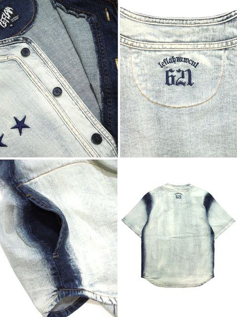 [LEFLAH] WHITE BLEACH DENIM BB SHIRT3