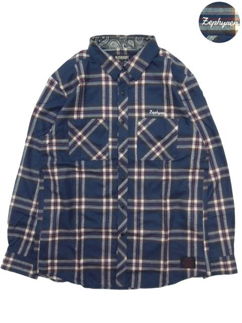 [ZEPHYREN] CHECK SHIRT L/S(NV)