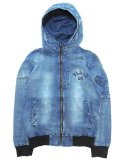 [FLASH POINT] FLASH 95 EMB DENIM HOOD MA-1 JACKET(Lt.IN)