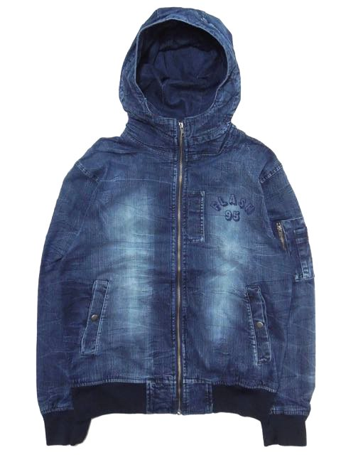 [FLASH POINT] FLASH 95 EMB DENIM HOOD MA-1 JACKET(Dk.IN)
