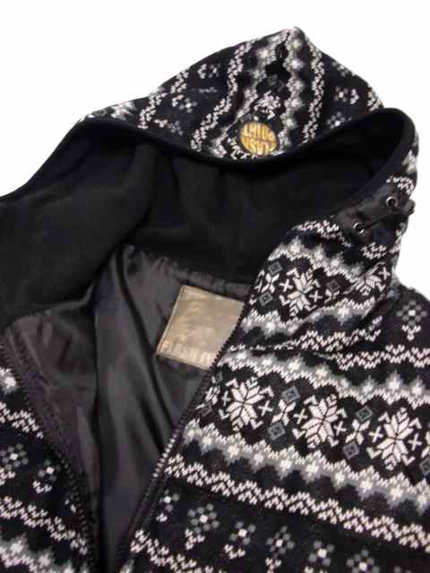 [FLASH POINT] Jacquard Knit HOOD JKT(BK)1