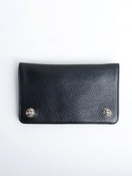 CHROMEHEARTS/1Zip Wallet Cross Button Black Heavy Leather