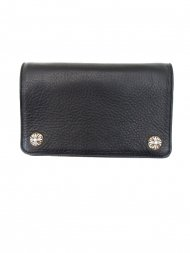 CHROMEHEARTS/2Zip Wallet Cross Button Black Heavy Leather