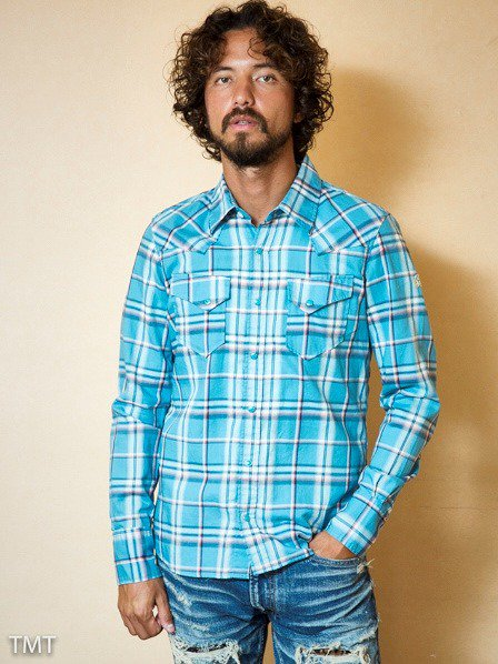 TMT2018SS先行予約/THIN-TWILL CLOTH CHECK SHIRTS(TURQUOISE)