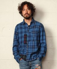 TMT2019AW/INDIGO CHECK PANEL SHIRTS(BLUE)<img class='new_mark_img2' src='https://img.shop-pro.jp/img/new/icons50.gif' style='border:none;display:inline;margin:0px;padding:0px;width:auto;' />