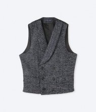junhashimoto2019AW/SHAWL LAPEL VEST-CERRUTI JACQUARD-(NAVY)<img class='new_mark_img2' src='https://img.shop-pro.jp/img/new/icons50.gif' style='border:none;display:inline;margin:0px;padding:0px;width:auto;' />