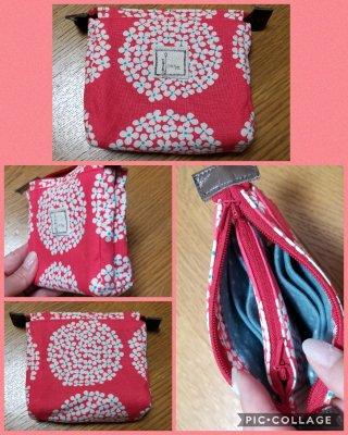 アクセサリーポーチ(赤色小花&水玉模様)