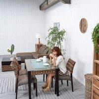 送料無料!! ジュート【ロンガ】ダイニングテーブル (レクタングル)