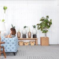 送料無料 HPフラワーベース(ホワイト)#GB14051 アジアン家具 雑貨