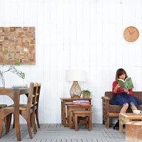 チーク【パーラ】サイドテーブル3点セット  アジアン家具