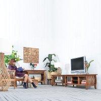 送料無料 チーク【クルヴァ】TV キャビネット  アジアン家具