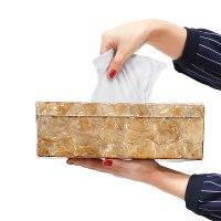 送料無料!シェル・ティッシュボックス (ゴールド) バリ雑貨 アジア雑貨 アジアン家具